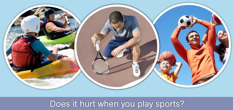 Does it hurt when you play sports? | runner, tennis player, family with balls - Physiotherapy Services in Dartmouth